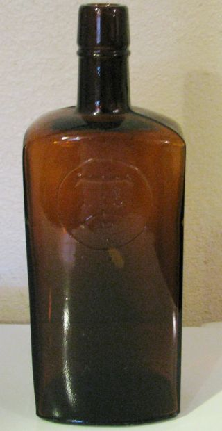 Antique Bottle Amber Pat.  Feb.  1902 Rare Bottle & Rare Design On Front Bubbles photo