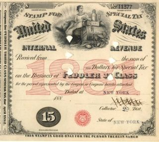1881 New York History $15 Peddler 3 Tax Stamp Document photo