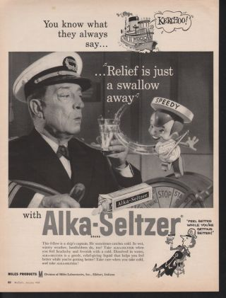 1959 Alka Seltzer Medicine Sailor Boat Ship Child Boy photo