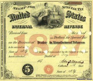 1877 Troy Ny Tobacco Dealer Tax Stamp Document History photo