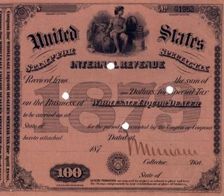 1879 Signed $100 Moonshine Whiskey - Still Document Bar photo