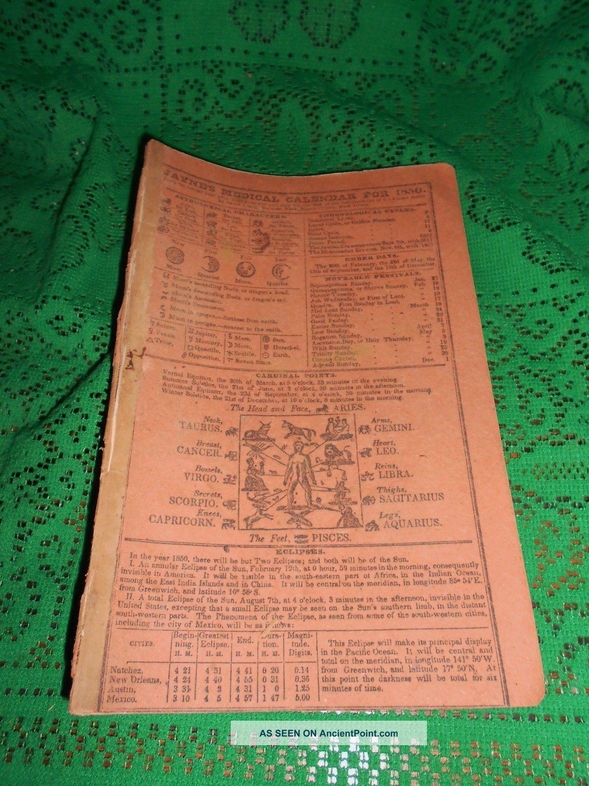 Antique 1850 Dr Jaynes Medical Almanac Quack Medicine Hanover Neck Morris Cty American photo
