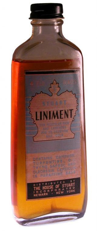 Antique 1900s Stuart Liniment Pristine Condition Orig.  Contents photo
