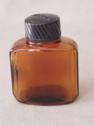 Vintage Medical Amber Glass Small Bottle Bakelite Cap photo