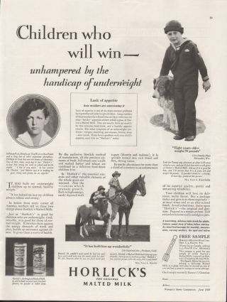 1928 Horlicks Malted Milk Lacy Horse Food Medicine Ad photo