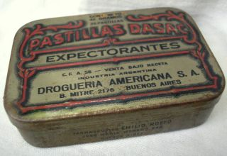 1910 ' S Art Nouveau Expectorant Pills Embossed Tole Tin photo