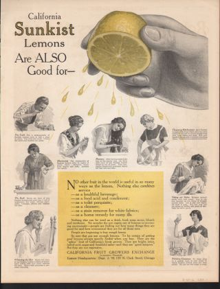 1916 Sunkist Lemon Fruit Skin Care Soap Household Ad photo