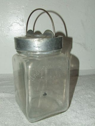 Antique 19th C.  Signed Glass Mortuary Funeral Embalming Bottle Jar With Hanger photo