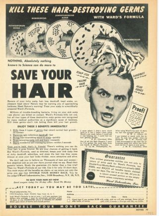 1952 Ward Hair Treatment Medicine Salon Barber Germ Itch Loss Scalp Formula Ad photo