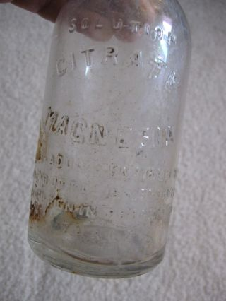 Citrate Magnesia Solution Vintage Glass Medicine Bottle Children Dose Embossed photo