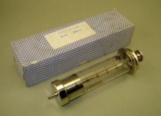 Vintage Giant German Glass & Metal Syringe 50ml Box photo