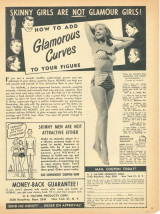 1951 Us Nature Numal Supplement Drink Curve Fat Beauty Swimsuit Figure Taste Ad photo