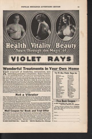 1920 Vi Rex Violet Ray Medicine Electric Chicago Beauty photo