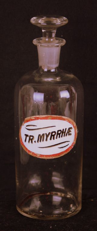 Apothecary Medicine Bottle Tr.  Myrrhae Antique & Oval Label Vintage Drug Sign photo