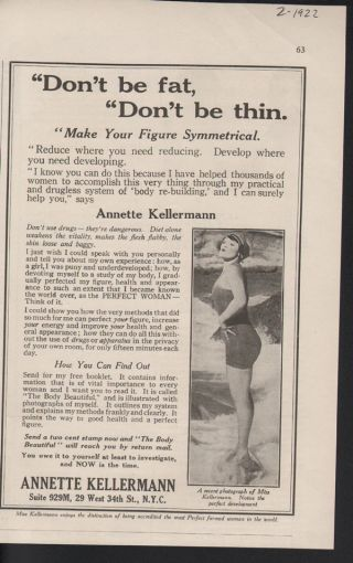 1922 Dont Be Fat Dont Be Thin Annette Kellermann Sport photo