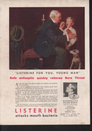 1935 Listerine Mouth Wash Doctor Boy Child Dog Germ Norman Rockwell Ad photo