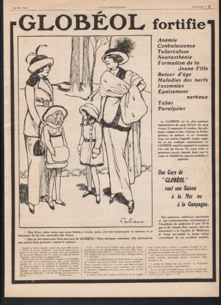 1913 Globeol Quack Medicine Medical Digestion Cure Doctor Fashion Paris Art Ad photo