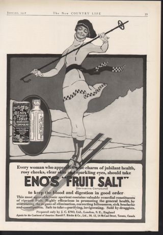1918 Eno Fruit Salt Medicine Ski Sport Snow Bottle Coat photo