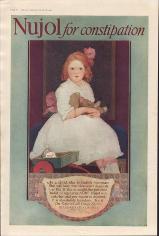 1918 Nujol Child Medical Bayonne Health Care Oil Doll photo