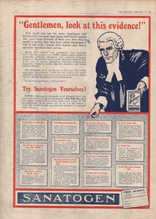 1914 Sanatogen Royal Tonic Vitamin Health Doctor Knight photo