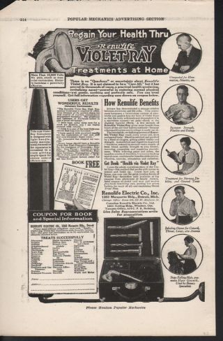 1920 Renulife Violet Ray Medicine Detroit Electric Ad photo