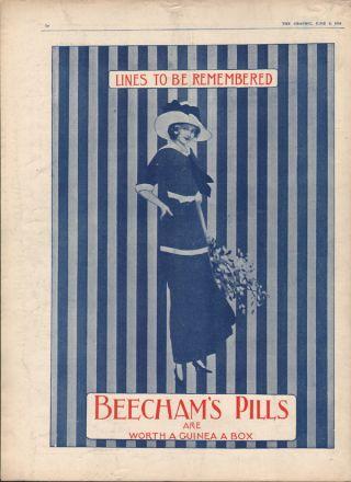 1914 Beecham Pill Fashion Beauty Hat Flower Dress Style London Medicine Art Ad photo