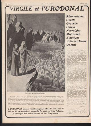 1913 L ' Urodonal Quack Medical Medicine Gout Dante Plague Health Paris French Ad photo