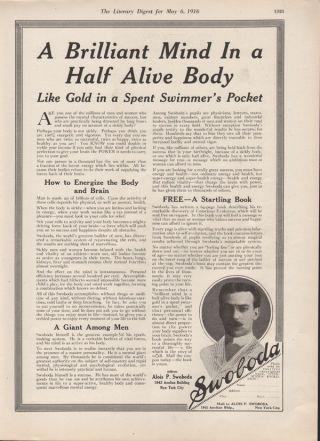 1916 Alois Swoboda Conscious Evolution Health Medicine Quack Mind Body Energy Ad photo
