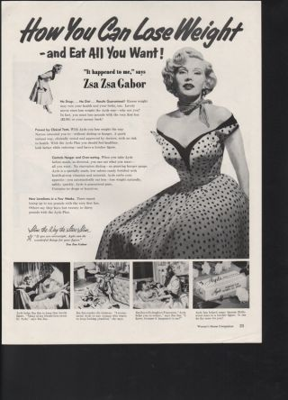Ayds Zsa Zsa Gabor Actor Weight Loss Candy Food Fitness photo