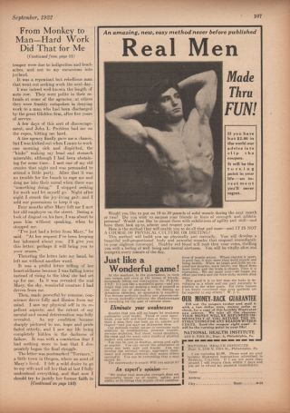 1922 Health Intitute Fitness Exercise Strenght Men Ad photo
