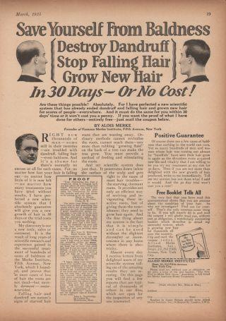1925 Merke Hair Care Growth Health Cosmetic Bald Men Ad photo