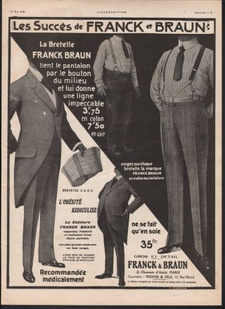 1913 Franck Braun Men Girdle Belt Fashion Gut Weight Belly Medical Obesity Ad photo