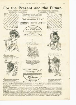 1882 Johnsons Anodyne Liniment Sport Medicine Bee Hive Boston Quack Ad photo