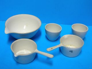 Porcelain Apothecary Coors Usa ~ Five (5) Pieces~ Ships Free photo