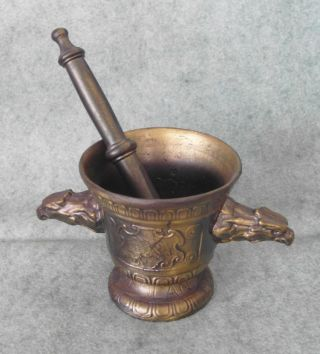 Antique Vfloan Mdcl Brass Apothecary Mortar & Pestle Eagle Handles photo