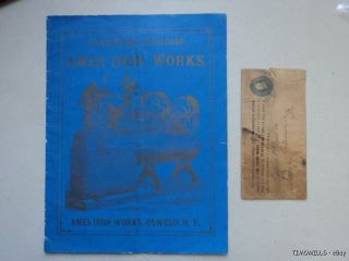 1884 Ames Iron Works Steam Engine Catalog - Antique Oswego New York Vg photo