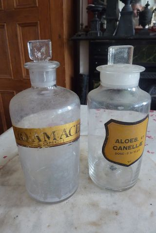 Couple Of Antique Chemist ' S Jars/bottles Glass Stoppers photo