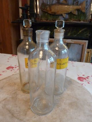 3 Antique Chemist ' S Jars/bottles With Ground Glass Lids photo