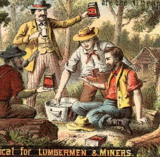Miner Lumbermen Wild West Camp Libby Beef Meat Victorian Advertising Card C 1880 photo