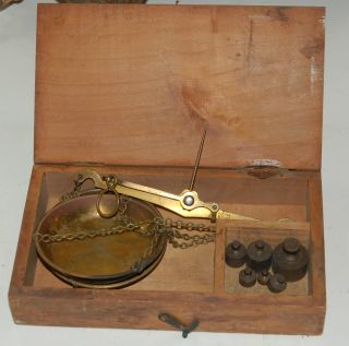Lampert Brass Balance Scale W/ Weights Germany Antique photo
