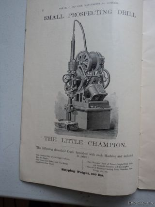 1884 Bullock Mining Rock Drill Engine Catalog Antique photo