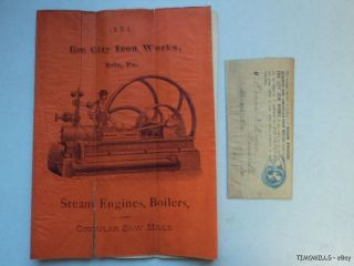 1884 Erie City Iron Works Steam Engine Saw Mill Catalog Antique Vg photo