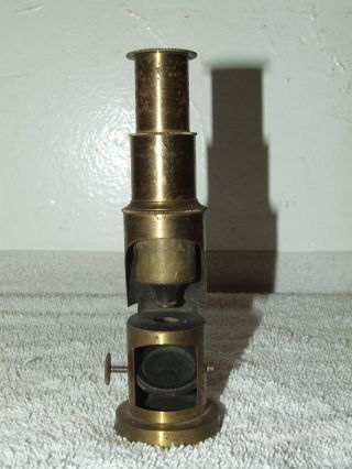 Antique 19th C.  Small Brass Portable Field Travel Microscope Spectroscope,  Rare photo