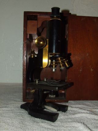 Antique 1909 Spencer Brass Microscope W/case; Spencer Lens Co.  Buffalo Ny.  Usa photo