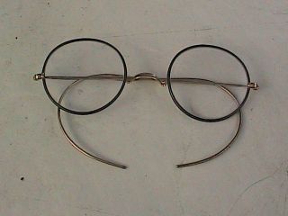 Antique/vintage Gold & Black Windsor Eyeglasses John Lennon Type Eyeglasses photo