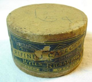 1878 Wells Richardson Catechu Dye Container With Label photo