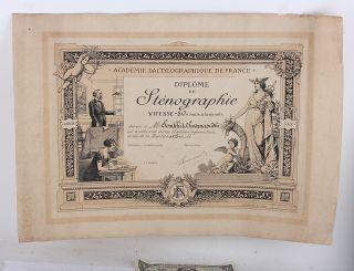 Diploma Stenography 1928 Academie Dactylographique De France Vintage Antique Old photo