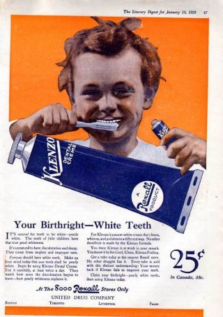 1920 Rexall Klenzo Toothpaste Teeth Mouth Cream Beauty photo