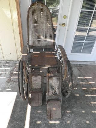 Antique~1920 ' S Cane - Back Wood Wheel Chair~rubber Wheels~tlc Restoration Project photo