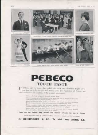 1914 Peebeco Tooth Paste Brush Dental Sing Dance Music Chorus Boat Act Photo Ad photo